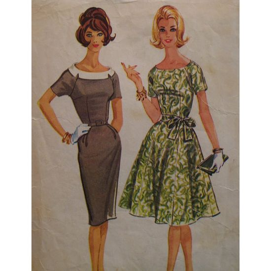 1960s Wiggle Dress Pattern Fitted Bodice Skirt by VogueVixens, $7.50