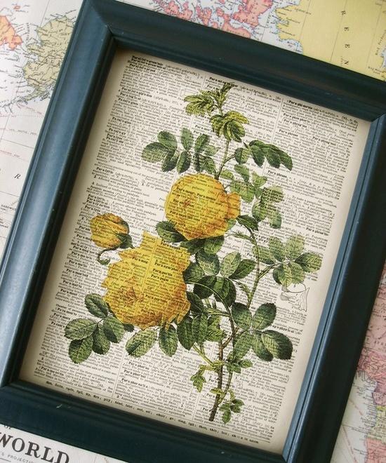 Vintage Yellow Roses Illustration - Vintage Dictionary Art Print