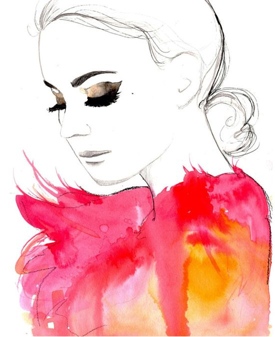 Golden Eye, watercolor and pen fashion illustration by Jessica Durrant.