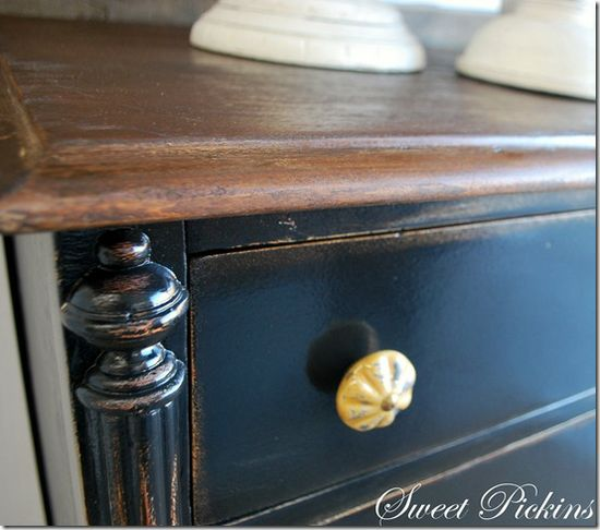 Distressing and painting furniture -- this is tricorn black by Sherwin Williams. Tutorial includes -- Christa's  (Stories of a House) DIY video tutorial  ---