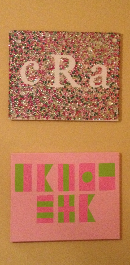Use stickers to create the monogram. With the stickers in place, coat the canvas with glue and sprinkle PINK and GREEN glitter (the Pelican Girls' choice) all over the canvas. When dry, lift the stickers for a monogram that SPARKLES!