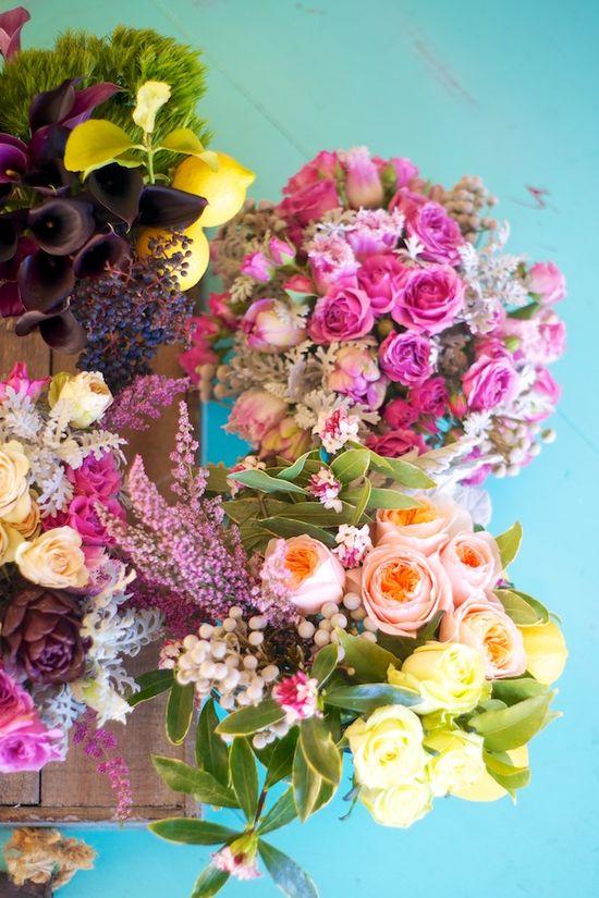 LOVE Kiana Underwood's crazy bright floral arrangements.