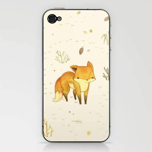 Lonely Winter Fox IPhone skin by Teagan White