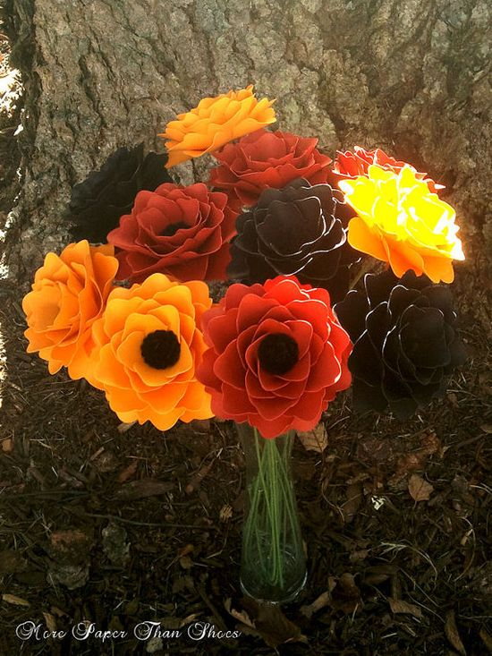 Handmade Paper Flowers - Fall Colors