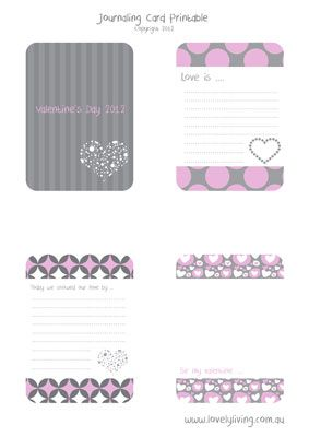 Free printable journaling cards for valentine's day