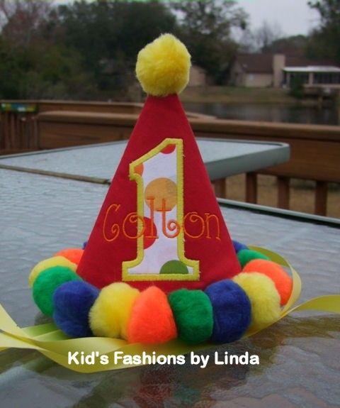 Personalized Circus Pom Pom Birthday Hat by FashionsforKids, $25.00