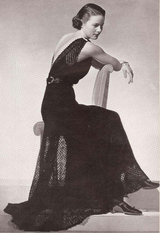 Vintage 1930s Knit Evening Dress