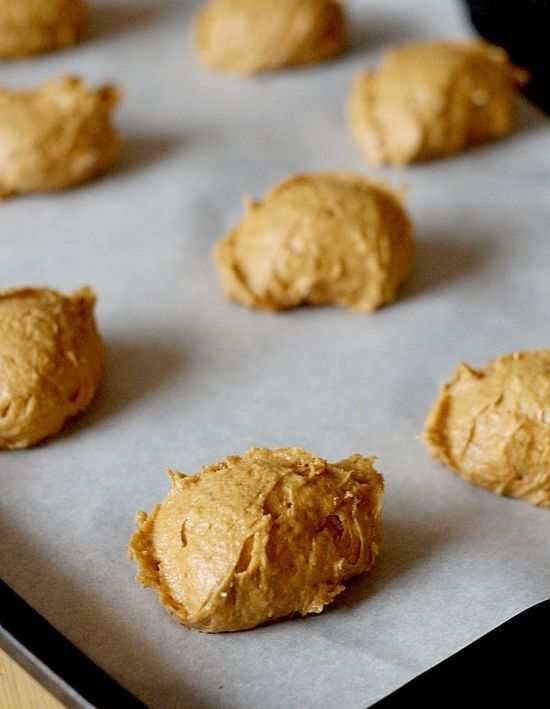 Two ingredient pumpkin cookies -- 1 can pumpkin and 1 box spice cake mix. Bake at 350 for 10-13 minutes. *I add mini chocolate chips...to die for YUM!!