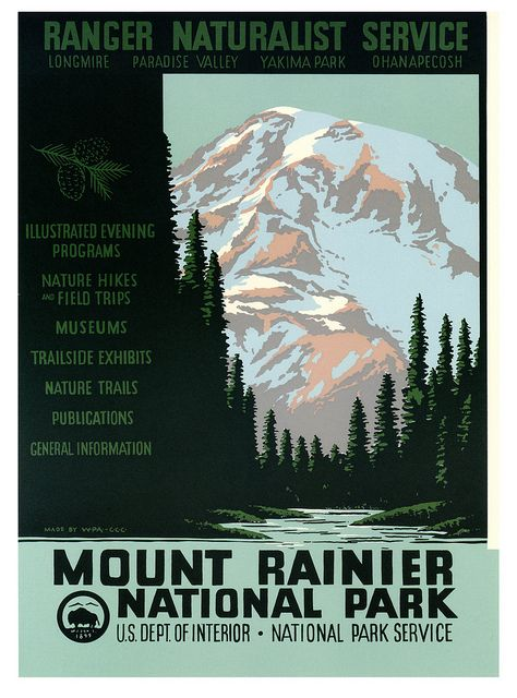 Vintage WPA travel ad for Mount Rainier National Park. #vintage #1930s #travel #posters