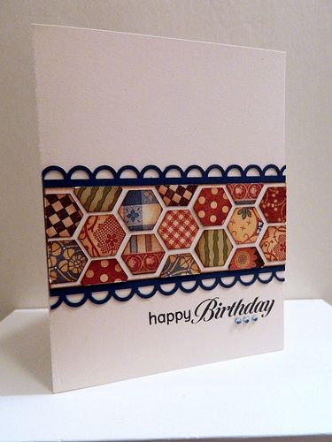 handmade birthday card ... luv the bright colors of the printed papers ... black open scallop edging holds it together ...
