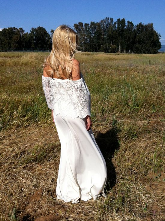 Off The Shoulder Vintage Wedding Dress, by DaughtersOfSimone, $550.00