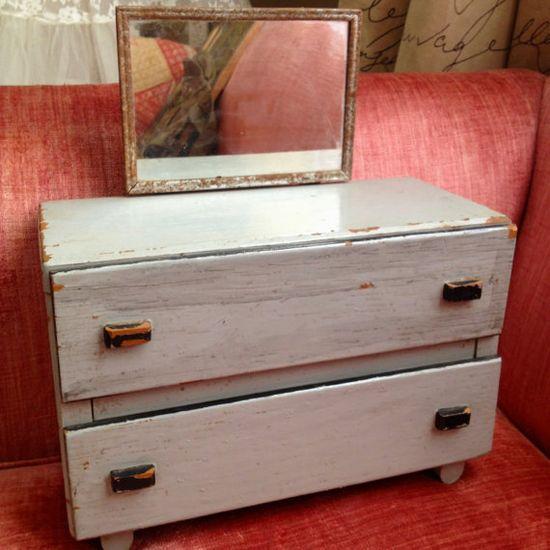 Vintage Wooden Handmade Doll Dresser