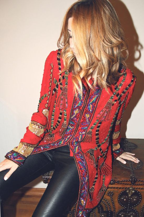 Red vintage embroidered / beaded / sequined jacket / top with black leather pants