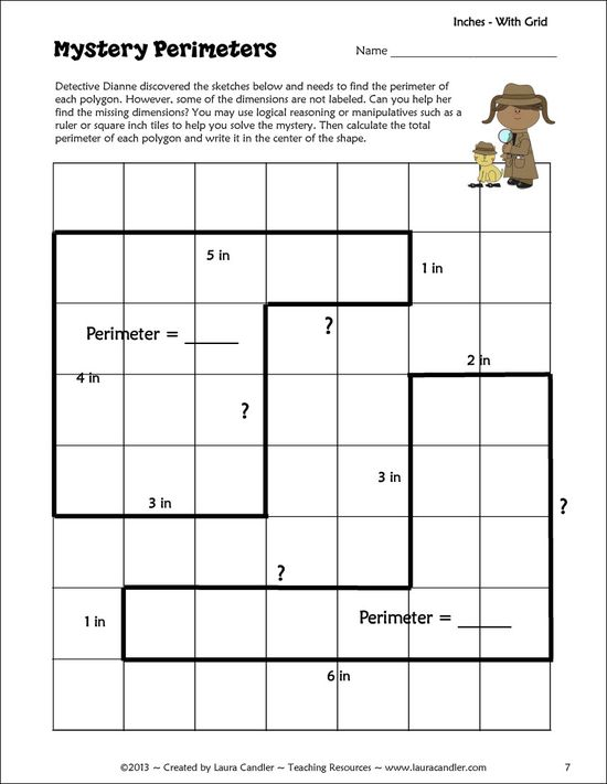 Mystery Perimeter Freebie from Laura Candler - Complete hands-on lesson for introducing students to finding unknown sides of irregular polygons - CCSS Math Content 3.MD.D.8 and also effective with 4th and 5th grade for review and remediation
