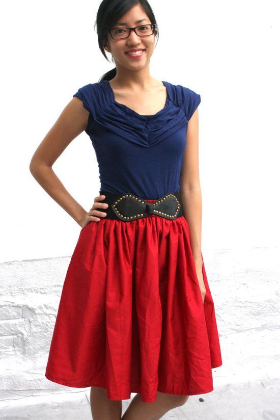 Pretty red skirt.