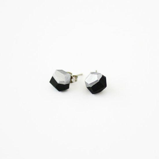 black silver dipped earrings via AMM Jewelry
