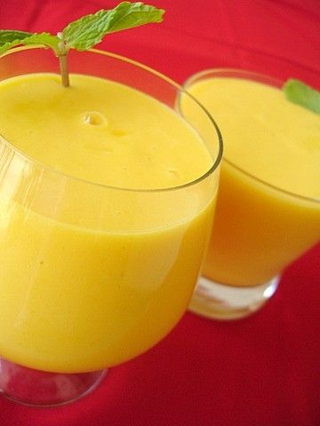 Sunshine hued, wonderfully tasty Coconut Milk and Mango Smoothies. #food #breakfast #drinks #smoothies #mango #coconut #milk #Asian