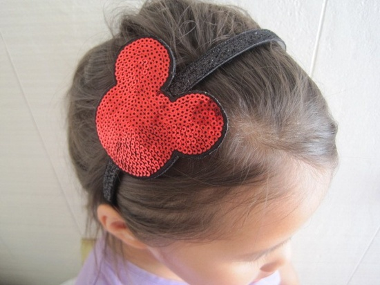 Sparkling Red, Silver, Gold, or Indigo Pink Sequins Beaded Mickey Minnie Ears Headband. $19.00, via Etsy.