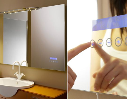 Touch screen mp3-playing bathroom mirror! #heaven