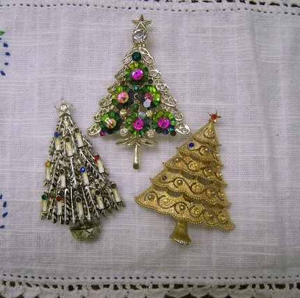 winter...vintage christmas tree pins