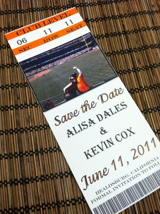 Baseball Ticket Photo Save the Date Design by alisamariedesigns, $25.00