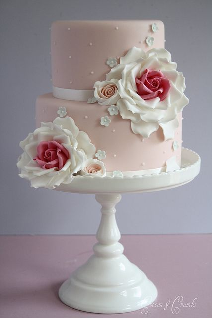 Such a tremendously feminine, softly hued, completely gorgeous double-tiered cake. #wedding #cake #pink #roses #shabby #chic #food #birthday #party #vintage