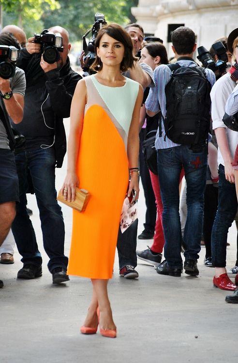 Miroslava Duma on the street in Paris. #hautecouture