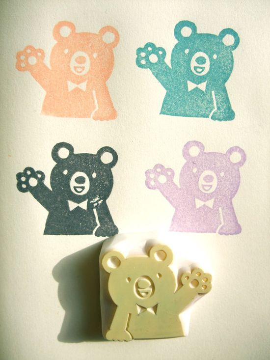 teddy bear hand carved rubber stamp - handmade  rubber stamp. $9,00, via Etsy.