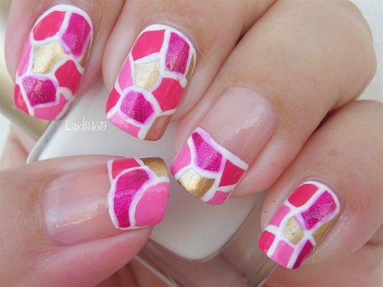 October in Pink: Pink Mosaic - Nail Art Gallery by NAILS Magazine