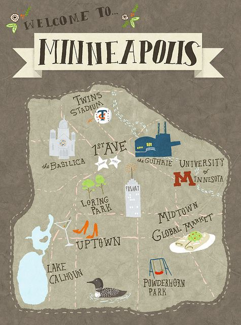 Map of #Minneapolis by emmatrithart.com