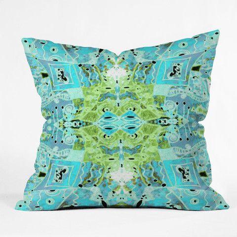 Ingrid Padilla Flora Bleu Throw Pillow #neon #geometric #pattern #home #decor #bedroom