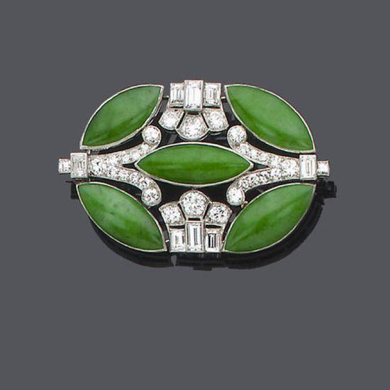 An art deco jade and diamond brooch
