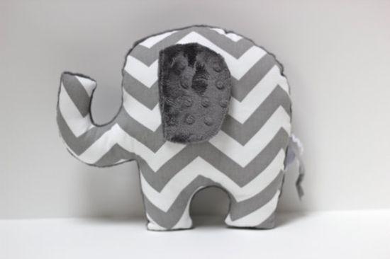 Chevron Elephant nursery pillow toy ELLE grey gray plush for modern baby on Etsy, $32.00