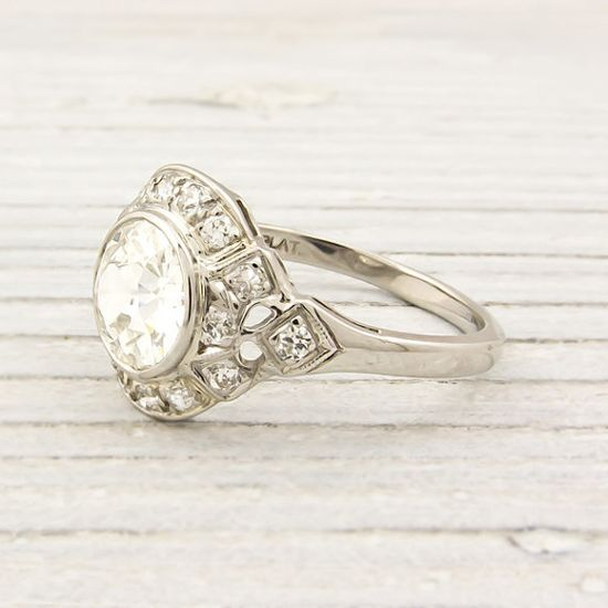 antique 1.07 carat diamond engagement ring~ erstwhile jewelry.