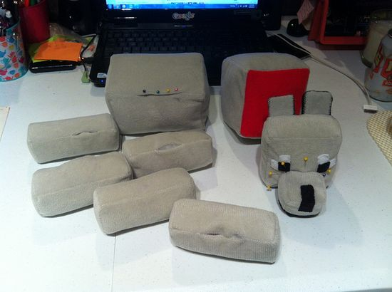 Minecraft dog (tame wolf) handmade plushie WIP pieces by Hope's art, via Flickr