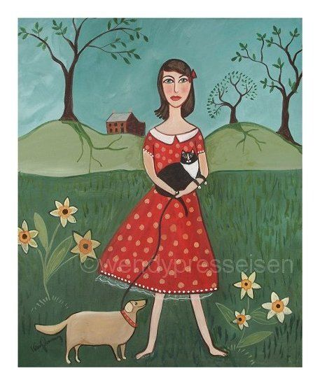 a POLKADOT PET GIRL Funky Art Print - The Pet Girl  - an Original Signed Fine Folk Art Print by Wendy Presseisen - Cats and People. $18.00, via Etsy.