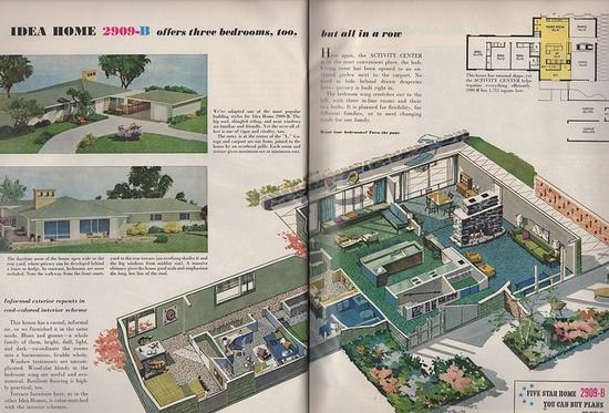 Idea Home 2909-B, mid century ranch (also known as a California Ranch). Better Homes & Gardens, 1959