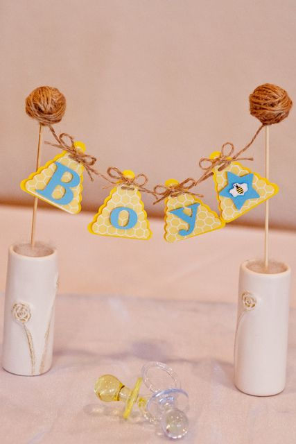 Cute baby shower decorations at a birds and bees baby shower! See more party ideas at CatchMyParty.com! #babyshower #birds #bees #decorations