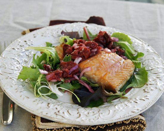 Glazed Salmon with Rustic Tart Cherry Salsa Recipe