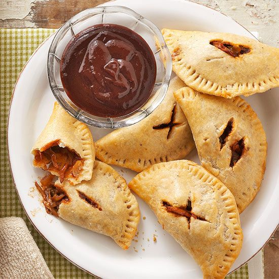 Say goodbye to hot pockets and hello to barbecue pasties! More game-day recipes: www.bhg.com/...