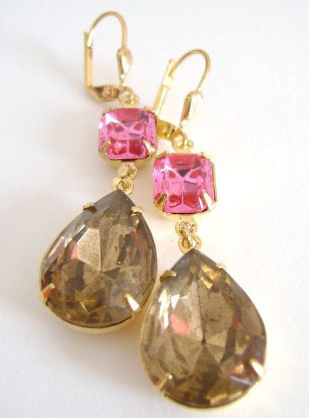 Gold Pink and Brown Topaz Earring estate by RachellesJewelryBox