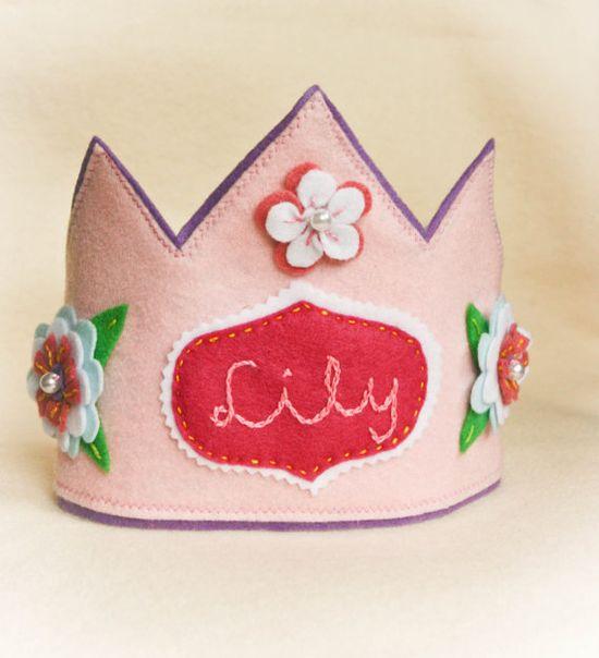 felt birthday party crown