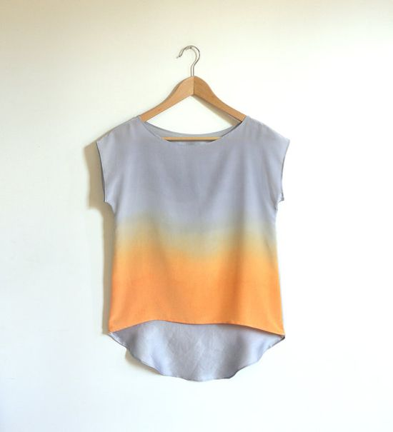 Ombre Silk Shirt.  Silver Apricot. by xsilk on Etsy, $120.00