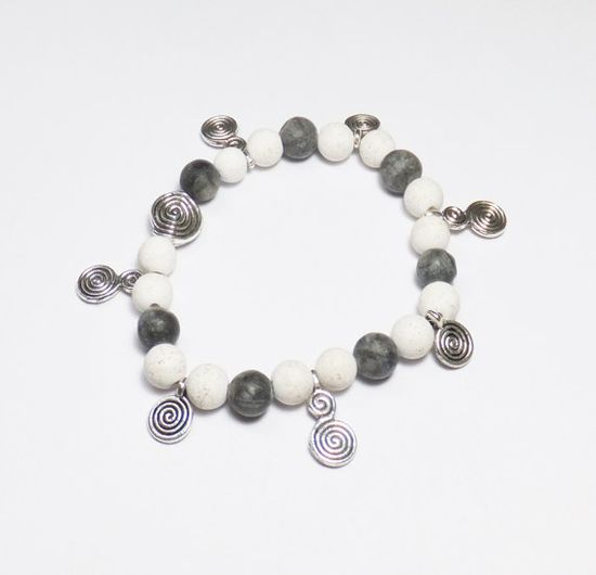 Chalk Turquoise Bracelet with Gray Marble and Pewter Charms by Designs by Tamiza, tzteja on Etsy, $12.00 #jewelry, #necklace, #beaded, #designsbytamiza, #noclaspjewelry, #handmade, #ooak, #bracelet, #blackandwhite, #charmbracelet, #graymarble, #turquoise