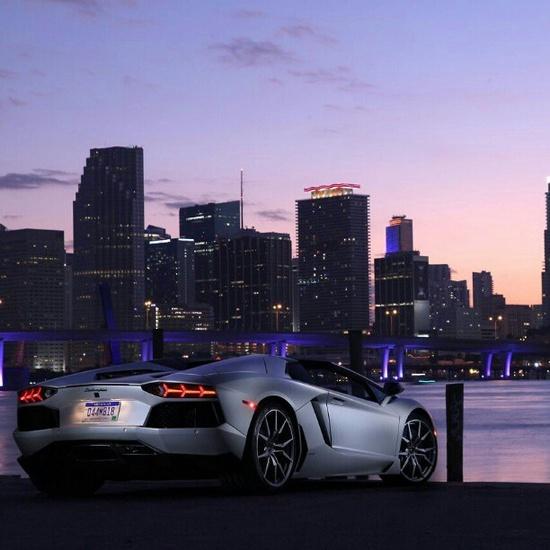 Silver Lamborghini Aventador watching the sun set