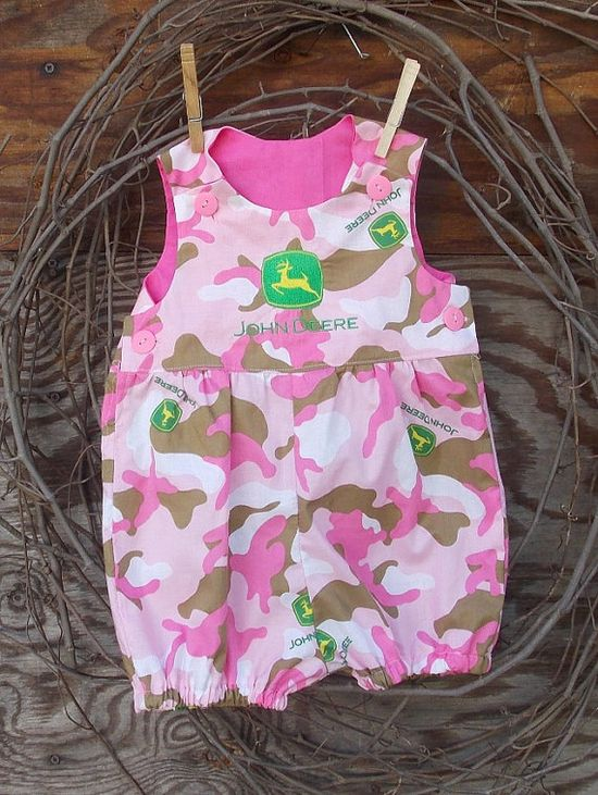 Baby Girl John Deere  Bubble Romper Pink Camo by SouthernSister2, $25.00