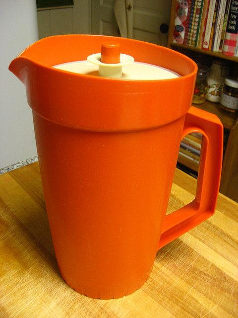 "Tupperware Pitchers.  Remember these?  And that color - ""burnt orange"".  It was everywhere!"