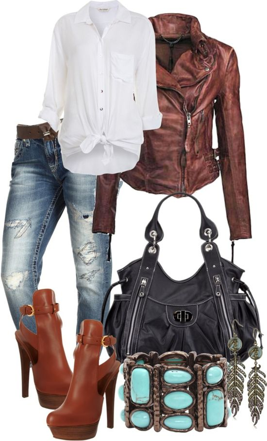 Brown, Black, White, Turquoise, Jeans Outfit