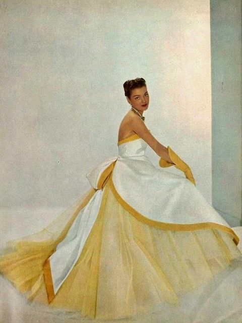 Every bit as gorgeous and uplifting as the sun's warmth. #vintage #fashion #1950s #gown #dress #yellow