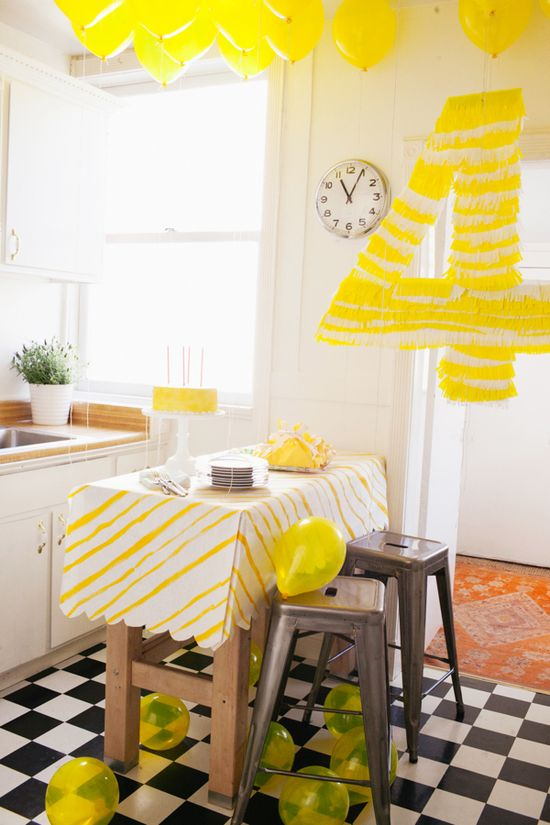 I love the idea of theming a party around a color. So simple yet so chic. Yellow Party
